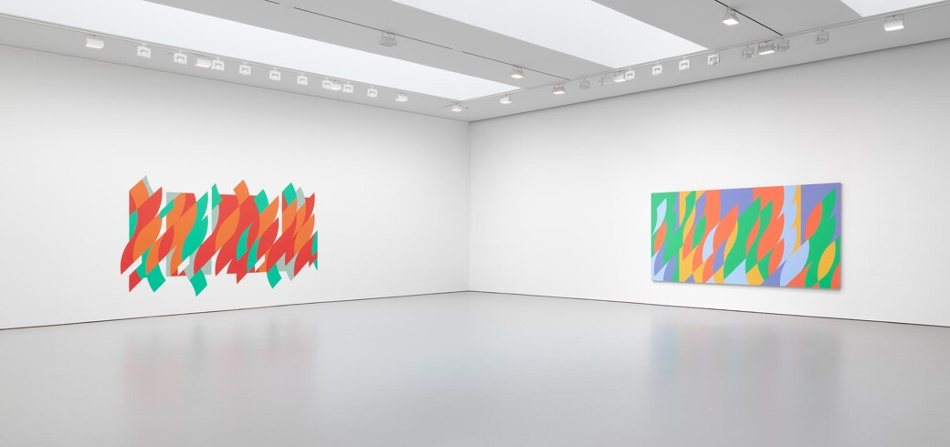 Installation view of the exhibition Bridget Riley at David Zwirner in New York, dated 2015.
